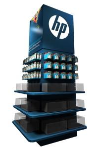 Exhibidores HP insumos cartuchos impresoras 30 diseño estratégico RODO