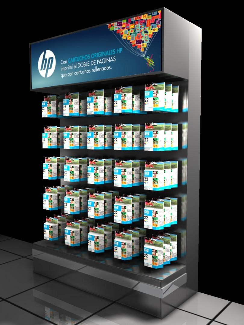 Exhibidores HP insumos cartuchos impresoras 30 diseño estratégico