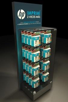 exhibidor vidrio cartuchos hewlett packard 30 diseño estratégico