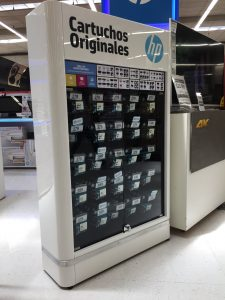 Exihibidores productos HP tóner y cartuchos