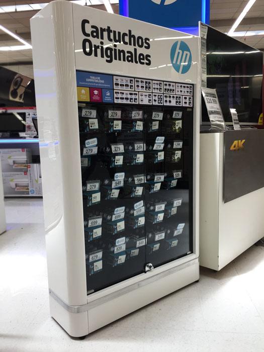 exhibidores comerciales cartuchos hp vidrio
