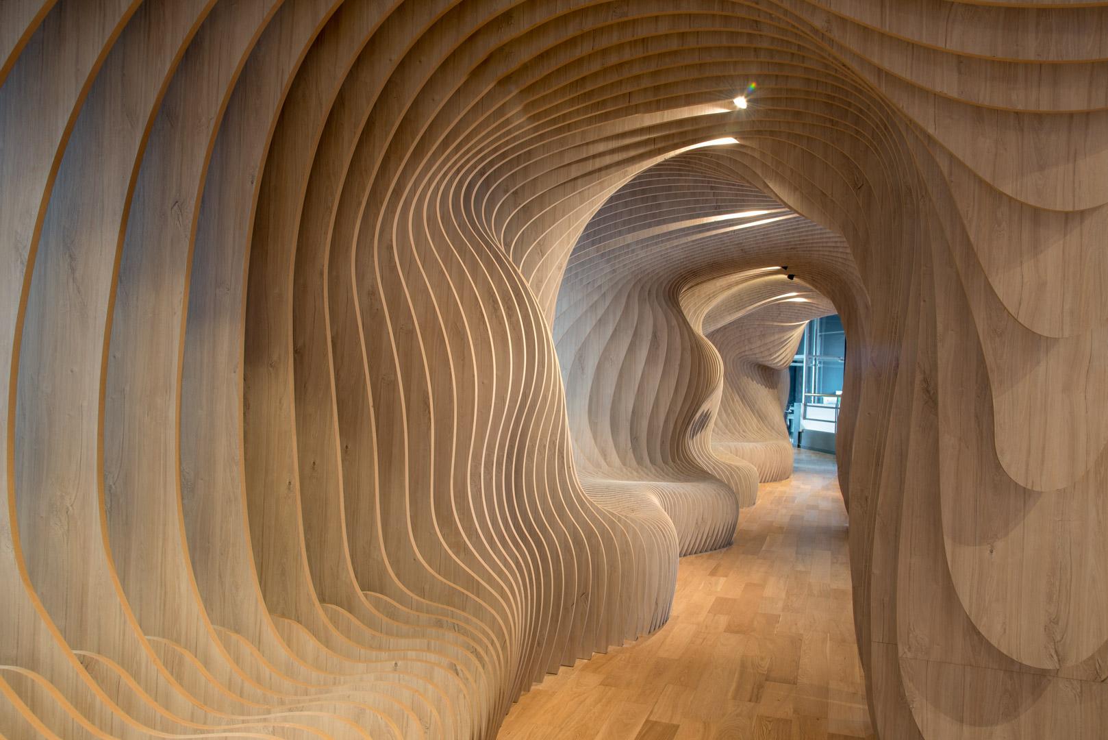 Espacio Patagonia Flooring Center. Diseño Paramétrico en melamina.