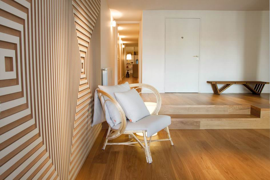 departamento diseño de interiores routeado geometrico